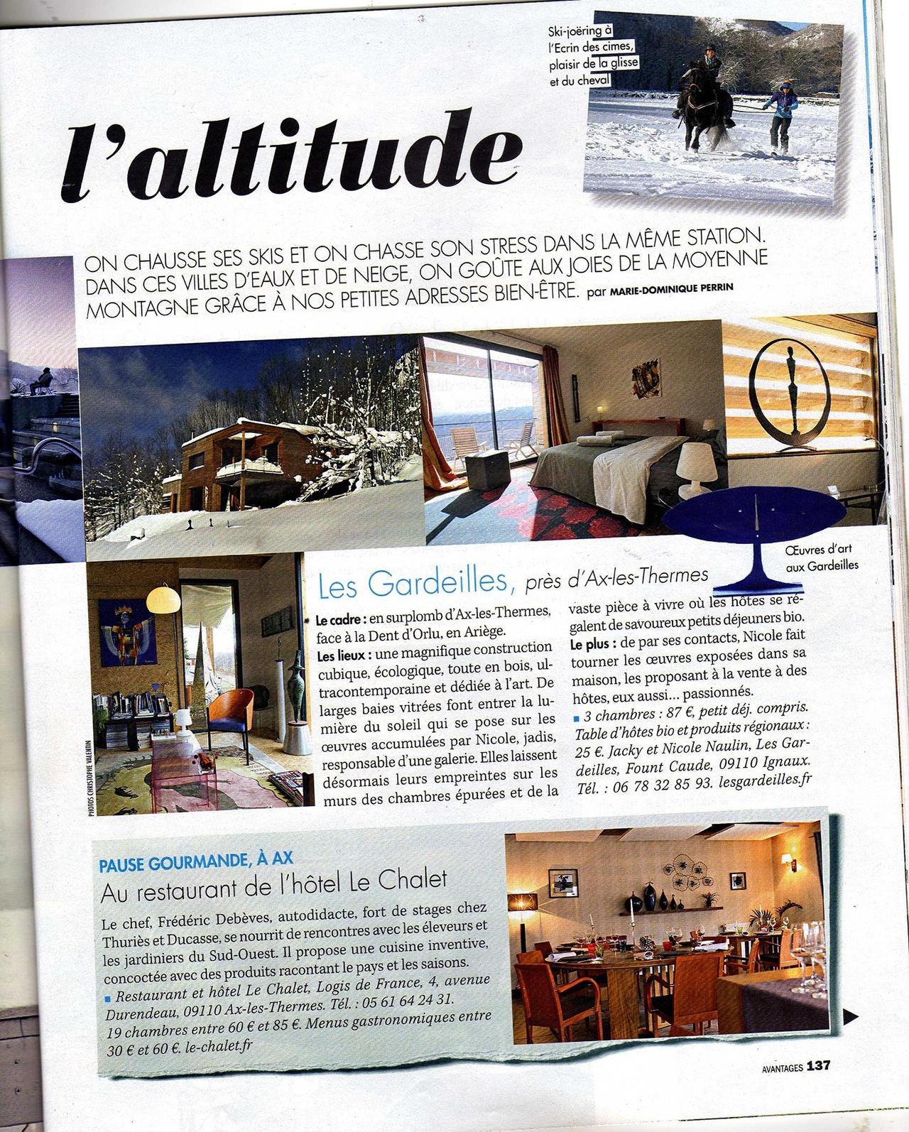 article magazine Avantage janvier 2016 Le Chalet Ax les Thermes