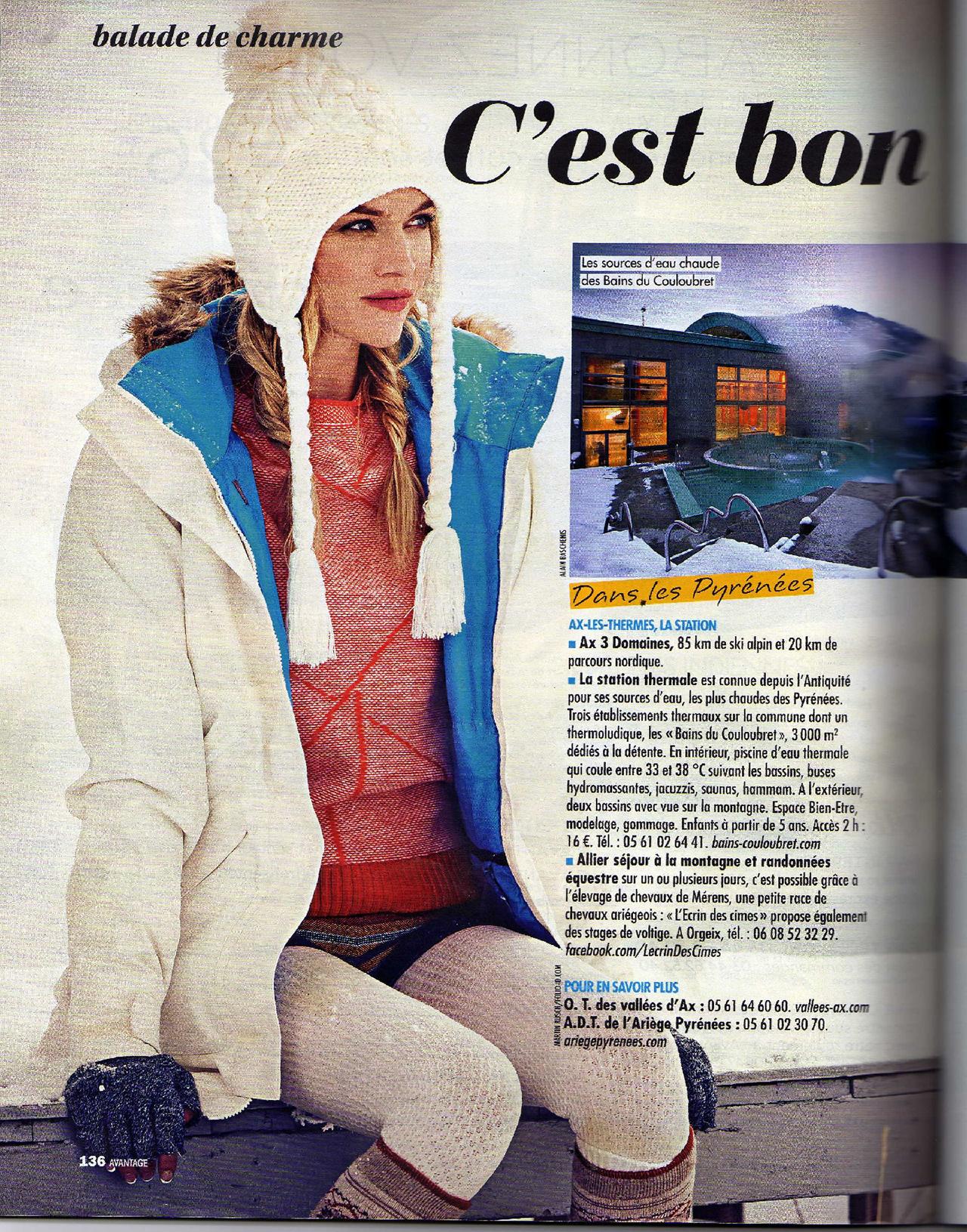 article magazine Avantages janvier 2016 Le Chgalet Ax les Thermes